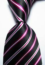 New Classic Striped Black Red White JACQUARD WOVEN 100% Silk Men's Tie Necktie