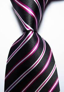 New Classic Striped Black Red White JACQUARD WOVEN 100% Silk Men's Tie Necktie