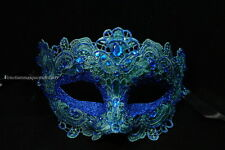 Lace crystals Masquerade Venetian Brocade Crystals Midnight Costume Party Mask