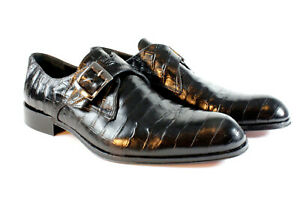IVAN TROY Black Crocodile Lauren Handmade MonkStrap Italian Leather Dress Shoes