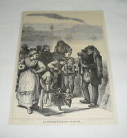 1879 magazine engraving ~ AN OPEN AIR EXHIBITION IN NAPLES Italy~dancing puppets