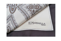 E. Marinella 100% Silk Scarves Tuch Schal Pocket Square  Brown Silk   44 cm x 44