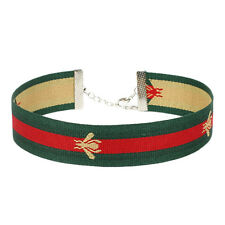 Embroidery Necklace Red Green Striped Choker Bee Patch Necklace Stretch Collar