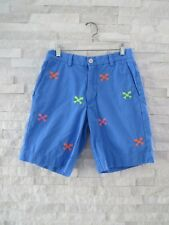Vineyard Vines Men's Blue Neon Fish Bones Stitched Critter Shorts 28
