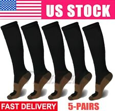 5 Pairs Copper Fit Energy Knee High Compression Socks Pain Relief SM L/XL XXL US