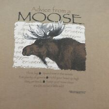 ADVISE FROM A MOOSE IT'S OK TO BE A LITTLE WILD CAMPING HIKING T SHIRT Sz L
