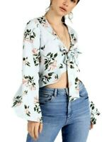 Women's Blue Floral Tie Up Front Fluted Long Sleeve Frill Crop Top Blouse