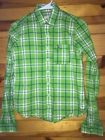 *HOLLISTER* Women's Juniors Green/Blue/White Plaid Button Down Shirt Top EUC S
