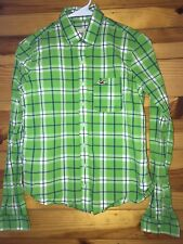 *HOLLISTER* Women's Juniors Green/Blue/White Plaid Button Down Shirt Top EUC S