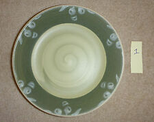 "VILLA ROMANA HAND PAINTED MADE IN ITALY GREEN PASTA SALAD OLIVE 9 1/2"" BOWLS"
