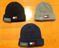 Men's Tommy Hilfiger Winter Cuffed Acrylic Patch Red White TH Logo Beanie