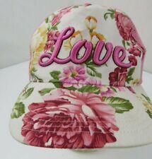 Love Pink White Floral Flowers Snapback Juniors Girls Cap Hat