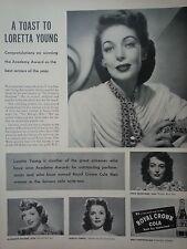 1948 Royal Crown RC Cola Loretta Young Joan Crawford Shirley Temple C Colbert Ad