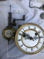 Mauthe Clock Movement With Key And Pendulum Ceramic Face Works