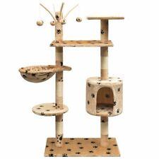vidaXL Kattenkrabpaal met Sisal Krabpalen 125 cm Pootafdrukken Beige Krabpaal