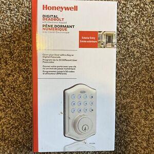 Opened Honeywell Electronic Entry Keypad Deadbolt Door Lock 8712309-Satin Nickel