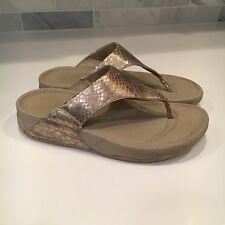 3a0ec20ccc36 Fit Flop Women s Sz 8 Metallic Gold Snake Skin Leather Toning Sandals Flip  Flops