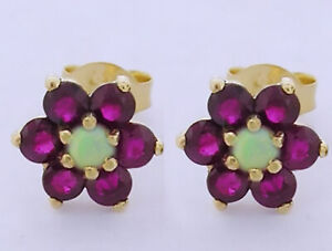E058 Lovely 9ct Yellow Gold Natural Ruby & Opal Cluster Stud Earrings Blossom