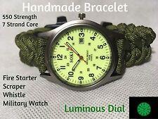 Wholesale Handmade Green Paracord Survival Bracelet Fire Scraper Whistle Watch