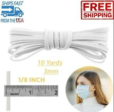 Braided Elastic Band 1/8 inch 3mm White 10 yards Cord Knit Band Sewing DIY Mask