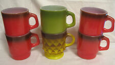 6 Vintage FIRE KING Anchor Hocking STACKABLE MUGS Cups~RED Green YELLOW