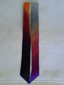 VITALIANO PANCALDI Men's 100% Silk Necktie ITALY Luxury Geometric Lines Gray #3