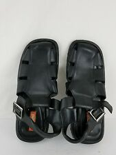 Unlisted men's sandals size 12 black color leather upper rubber sole