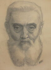 Antique pencil drawing old male portrait signed  FREE SHIPPING