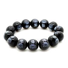 BLACK AGATE WRIST MALA w LOTUS 14mm Buddhist Prayer Bead Stone Stretch Bracelet