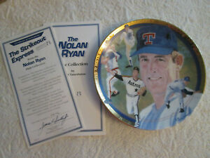 RARE NOLAN RYAN THE HAMILTON COLLECTION COLLECTOR PLATE 2511 C STRIKEOUT EXP