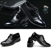 New Mens Leather Business Dress Formal Oxfords Shoes Flat Lace Up Casual Loafers