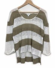 Witchery Striped Linen Knit Top Jumper Size M Beige Relaxed 3/4 Sleeve Womens