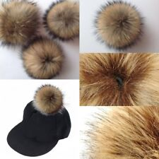 DIY 10cm Raccoon Fur Pompoms Fur Balls For Knitted Hat Cap Beanies And Keychain