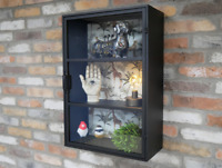 Wall Mounted Display Cabinet Unit with Giraffe Storage Pattern Metal & Glass