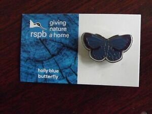 RSPB GNaH holly blue butterfly Metal Pin Badge on Blue FR Card