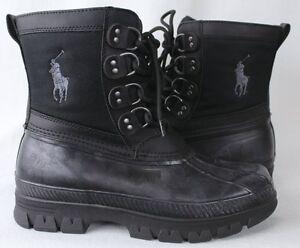 POLO Ralph Lauren Crestwick Rubber Boots Black Grey Big Pony NWT