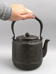19thC Antique Japanese Meiji, Cast Iron Tetsubin Teapot, Signed Bronze Cover, NR
