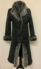 Press & Bastyan Shearling Black Long Coat Size Uk 8