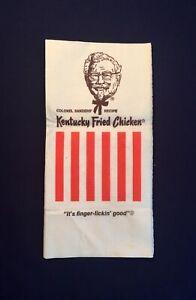 Vintage Kentucky  Fried Chicken Fast Food Take Away Paper Napkin Serviette 1960s