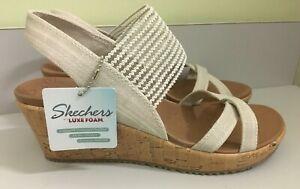 NEW Skechers 31723 High Tea Slingback Wedge Sandals Natural Women's Size 8 NWT