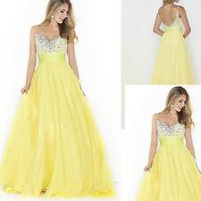 Yellow Sleveless Sequins Tulle Prom Bridesmaid Wedding Maxi Dress
