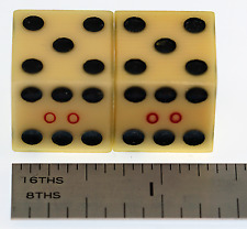 """Antique Vintage Translucent Celluloid Casino House Marked """"00"""" Dice"""