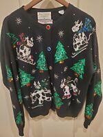 Vtg MARISA CHRISTINA CLASSICS 1994 CHRISTMAS CARDIGAN UGLY SWEATER Sz MEDIUM Cow
