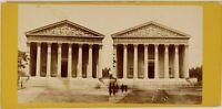 Parigi Istantanea Eglise La Madeleine Francia Foto Stereo Vintage Albumina c1870