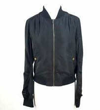 AQUA Women's Black Nylon Short Bomber Jacket Size M