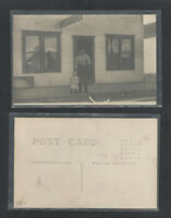 1910s MAN AND BOT STANDING IN FRONT OF RESTAURANT RPPC REAL PICTURE POSTCARD