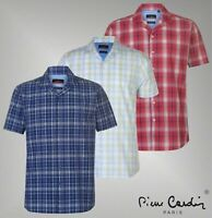 Mens Pierre Cardin Cotton Reverse Check Short Sleeve Shirt Sizes from S to 3XL