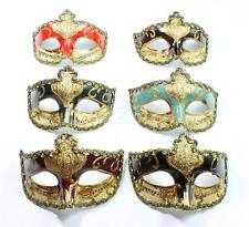 6 x Venetian Style Masquerade Party Mask (Green, Brown, Black, Red, Burgundy)