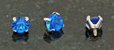 3 Pc 4mm Blue C.Z. Extra Sparkle & Bling Prong Set Gem Dermal Anchors Heads 14g