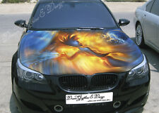 Flame Girl Full Color Graphics Adhesive Vinyl Sticker Fit any Car Bonnet #054